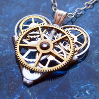 "Mini Watch Parts Heart Necklace ""Revolution"" Elegant Industrial Heart Pendant Steampunk Mechanical Love Sculpture Gershenson-Gates Clockwork"