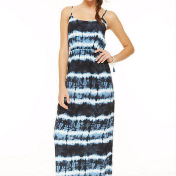 Tie-Dye Open Back Maxi - Blue Multi