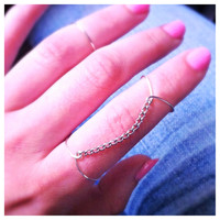 Silver High-Low Rings with Chain