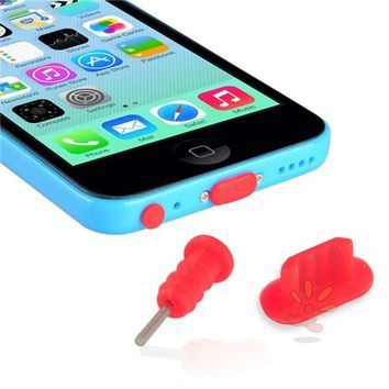 Everydaysource compatible with Apple® iPhone® 5/ 5S/ 5C Red Headset Dust Cap with SIM Card Eject Pin & Charging Dock Port Plug