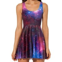 Sexy 2014 Women Pleated Knee-length Galaxy Purple Reversible Skater Dress (L)