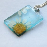 NaturalPrettyThings | Pressed Daisy Flower Necklace Resin Jewelry Real Flower Rectangle Turquoise Blue Transparent Pendant 925 Silver Plated | Online Store Powered by Storenvy