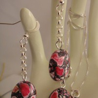 Handmade Red Turquoise Earring Necklace Set | asterling - Jewelry on ArtFire