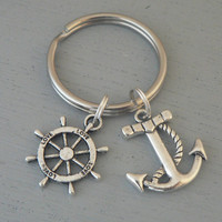 Anchor with Rope and Ships Wheel Rudder Love KeyChain Gift Nautical Boat Silver Charm Key Chain