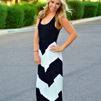 IN CONTROL CHEVRON MAXI DRESS