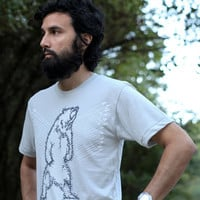 Grizzly bear tshirt - mens t shirt | for him - bear with arrows on light gray - Ursa Major by Blackbird Tees