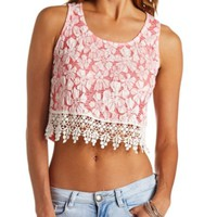 FLORAL LACE-TRIMMED CROP TOP