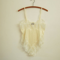 buttercream lingerie teddy - 80s vintage white lace high cut romper - one piece - small