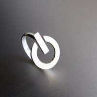 POWER Button - Handmade Silver Ring  | SmilingSilverSmith Handmade Silver Rings & Jewelry