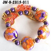 Orange and Purple Flower Bead Bracelet Purple Handmade Polymer Clay