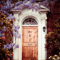 Door with Flowers, London Photography, Purple Wisteria, Romantic Home Decor For Her, Spring Garden, Feminine - Dream Home