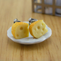 Gouda Cheese  Studs / Post Earrings by shayaaron on Etsy