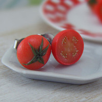 Tomato  Studs / Post Earrings by shayaaron on Etsy