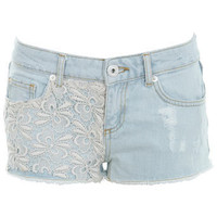 Bleach Wash Crochet Short - Denim Shorts & Skirts  - Jeans & Denim  - Miss Selfridge