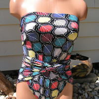 Sizeless Large Wrap-around Swimsuit Colorful Leaves | Luulla