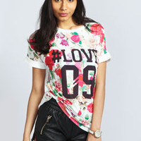 Emilie Floral Roll Back Sleeve Baseball Tee