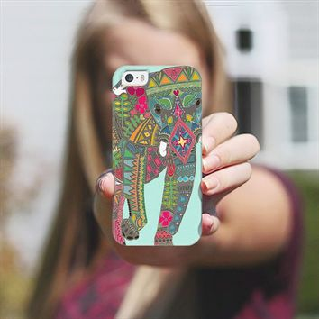 painted elephant aqua iPhone 5s case by Sharon Turner | Casetagram