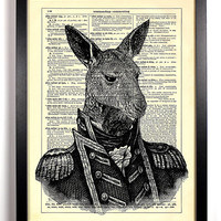 General Kangaroo Upcycled Dictionary Art Vintage Book Print Recycled Vintage Dictionary Page Buy 2 Get 1 FREE