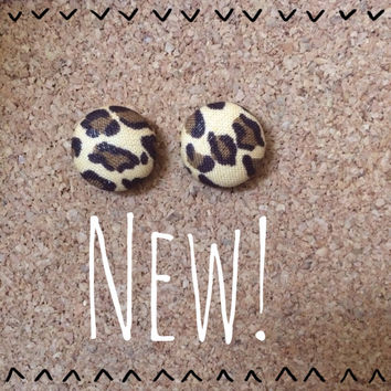Wild Thing Cheetah Print Cover Button Earrings