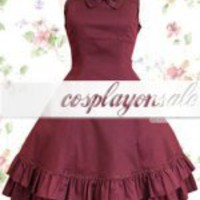 Dark Red Sleeveless Bow Cotton Classic Lolita Dress [T110182] - $73.00 : Cosplay, Cosplay Costumes, Lolita Dress, Sweet Lolita