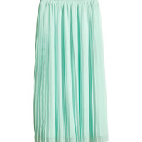 H&M - Pleated Skirt - Mint green - Ladies
