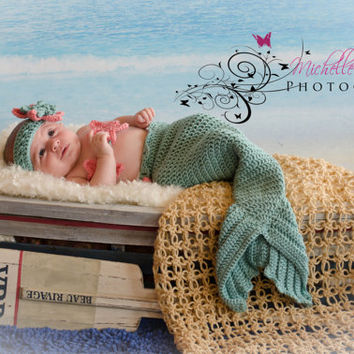 Crochet Mermaid Cocoon Tail Costume Photography Prop