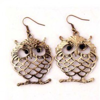 Funky Retro Owl Bronze Earrings | christinepurr - Jewelry on ArtFire