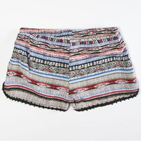FULL TILT Tribal Print Girls Crcohet Trim Shorts
