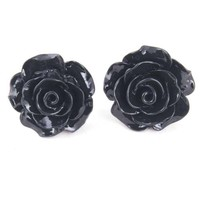 Black Rose Bloom Earrings