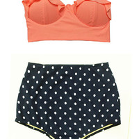 Old Rose Orange Midkini Pad Top and Navy Blue Polka dot Highwaisted High Waisted Waist High-Waist Swimsuit Swimwear Bathing suit suits S M