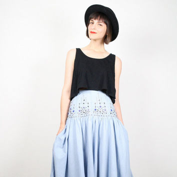 Vintage 80s High Waisted Skirt Chambray Light Blue Denim Look Midi Skirt Studded Jeweled Gem Bedazzled Waist Full Skirt New Wave M Medium L