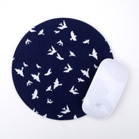 Mouse Pad / Silhouetted Swallows Birds  / Home Office Decor / Navy Blue White Round Mousepad