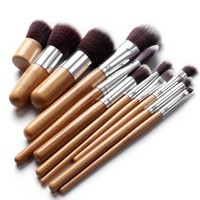 11 pcs Premium Quality Bamboo Cosmetic Makeup Brush Set with Bag