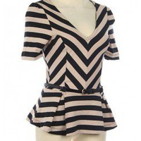 COTTON STRIPE PEPLUM KNIT TOP WITH BELT-Dressy-Womens Dressy Tops,Dressy Top For Women,Fashion Dressy Tops,Trendy Dressy Tops,Promo Dressy Tops
