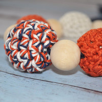 Nursing/Teething Necklace and Teething Ring- Khaki, Orange, and Navy Blue- Eco Baby Teething- Eco Mom Jewelry