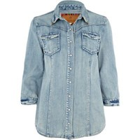 light wash denim shacket - jackets - coats / jackets - women - River Island