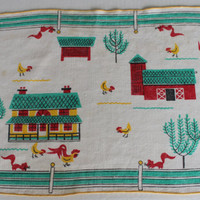 Vintage Linens Napkins 1950's barnyard scene by purrfectstitchers