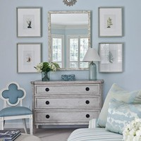 living rooms - vintage gray chest pearl mirror vertical art gallery blue lamp blue clover accent chair striped blue sofa living room Thanks