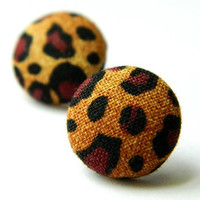 Button Earrings Leopard Print Rockabilly by PushTheButtons on Etsy