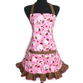 Cupcake Apron for Women , Pink with Chocolate stripe Ruffle , Retro Kitchen Decor