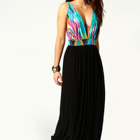 Kara Low V-Neck Contrast Printed Trim Maxi Dress