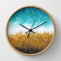 "Decorative Wall Clock, Abstract Art - Rocky Shoreline, 10"" diameter"