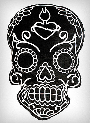Black Soft Sugar Skull Pillow | PLASTICLAND