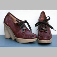 8 N FAMOLARE hiup platform wedge lace up shoes by jeliott on Etsy