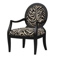 Linon Home Decor 36053NBLK-01-KD Zebra Print Occasional Accent Furniture Chair, Black  - Home Furniture Showroom