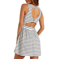 HEART CUT-OUT STRIPED BABYDOLL DRESS