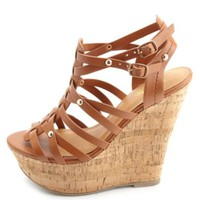 Studded Strappy Gladiator Wedge Sandals by Charlotte Russe - Cognac