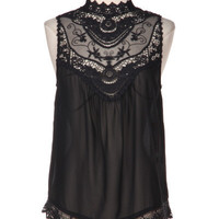 Ever After Lace Neck Blouse - Black | Daily Chic