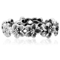 925 Sterling Silver Hawaiian Plumeria Flower Eternity Band Ring - Size 6