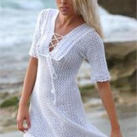 crochet beach cover-up dress by Katie Wilson | UsTrendy